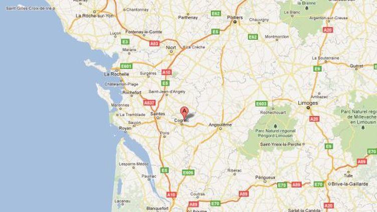 Capture d'écran d'une carte situant la commune de Boutiers-Saint-Trojan (Charente), où vivait la famille disparue. (DR)