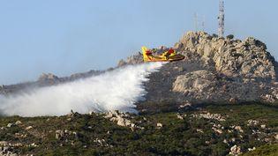 Un Canadair intervient près de Bonifacio (Corse-du-Sud), le 17 juillet 2017. (PASCAL POCHARD-CASABIANCA / AFP)