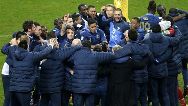 L'équipe de France qualifiée pour la Coupe du Monde au Brésil (KENZO TRIBOUILLARD / AFP)