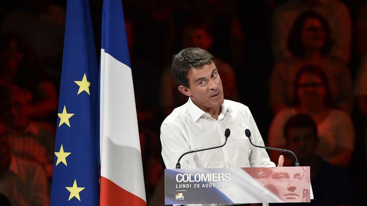 Le Premier ministre, Manuel Valls, lors d'un meeting à Colomiers (Haute-Garonne), le 29 août 2016. (PASCAL PAVANI / AFP)