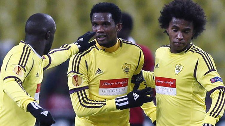 Les joueurs de l'Anzhi, le Français Lassana Diarra, le Camerounais Samuel Eto'o et le Brésilien Willian