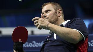 Fabien Lamirault,double médaillé d'or à Rio, dispute sa finale de tennis de table aux Jeux paralympiques de Tokyo,lundi 30 août. (MAXPPP)