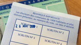 Un bulletin de vote daté du 26 mai 2019, date des élections européennes (illustration). (NOEMIE BONNIN / RADIO FRANCE)