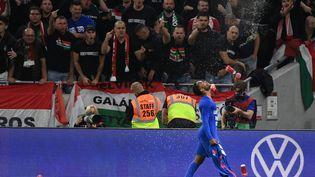 L'attaquant anglais Raheem Sterling célèbre son but face aux supporters hongrois le 2 septembre 2021. (ATTILA KISBENEDEK / AFP)