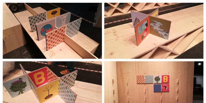 """Exposition """"Nos futurs"""", Montreuil, jeu de construction de Nathalie Choux, installation  (SLPJ)"""