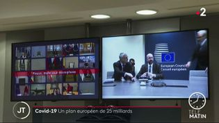Les dirigeants de l'UE ont discuté du coronavirus par visioconférence (France 2)