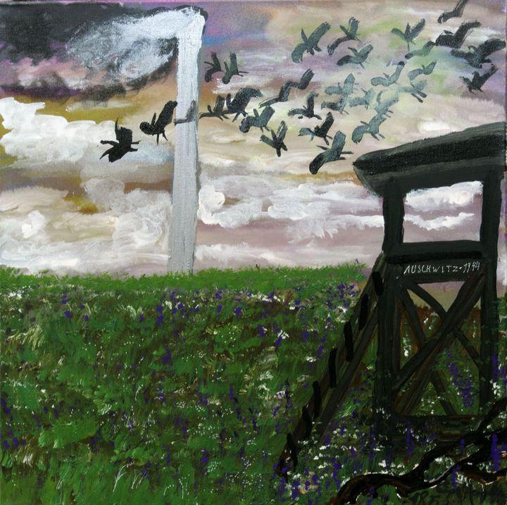 "Ceija Stojka, ""Auschwitz 1994"", 2009, acrylique sur toile  (Ceija Stojka, Adagp, 2017. Collection Antoine de Galbert)"