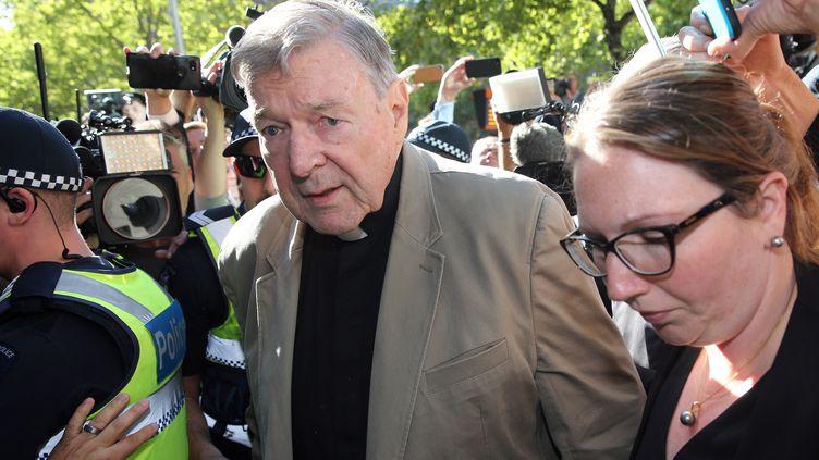 Le cardinal George Pell arrive au tribunal de Melbourne (Australie), le 27 février 2019. (CON CHRONIS / AFP)