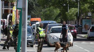 Des gendarmes inspectent le centre-ville de Chambéry (Savoie) avec un chien spécialisé, le 18 avril 2017, à la recherche de traces du militaire Arthur Noyer. (MAXPPP)