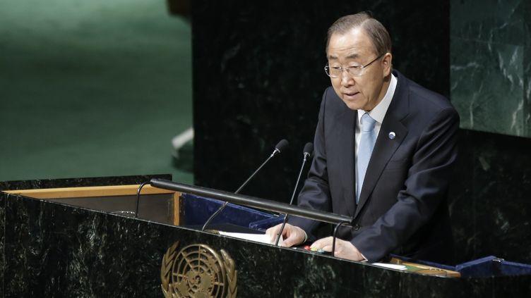 Le secrétaire général de l'ONU, Ban Ki-moon, le 21 avril 2015 à New York. (BILGIN S. SASMAZ / ANADOLU AGENCY / AFP)
