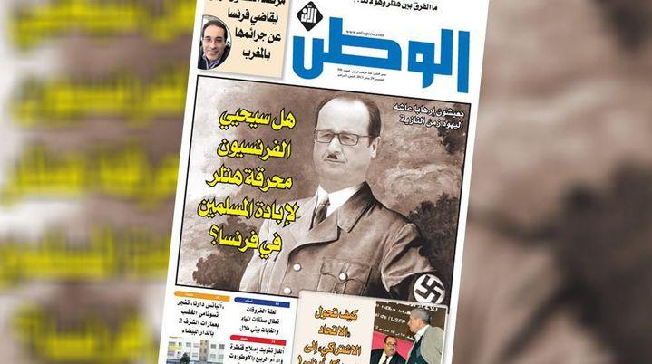 François Hollande grimé en Hitler par Al Watn Al An (Al Watan/France TV)