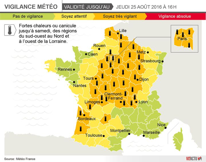 37 départements français sont désormais en vigilance canicule (Visactu)