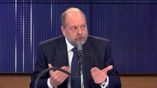 Éric Dupond-Moretti, garde des Sceaux, invité de franceinfo mercredi 14 avril 2021. (FRANCEINFO / RADIO FRANCE)