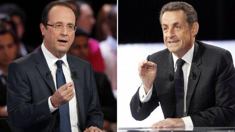 François Hollande (g) et Nicolas Sarkozy (d) sont les deux candidats arrivant en tête de tous les sondages. (AFP - Thomas Samson)