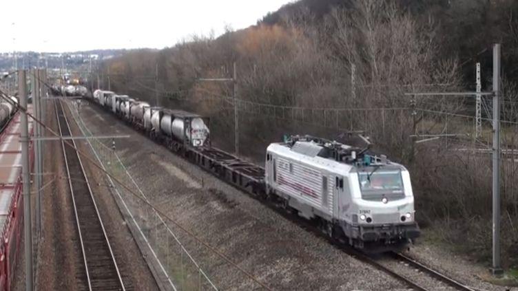 Un train de marchandises de 1 500 mètres de long a circulé entre Sibelin et Nîmes, le 18 janvier 2014. (YOUTUBE / FRANCETV INFO)
