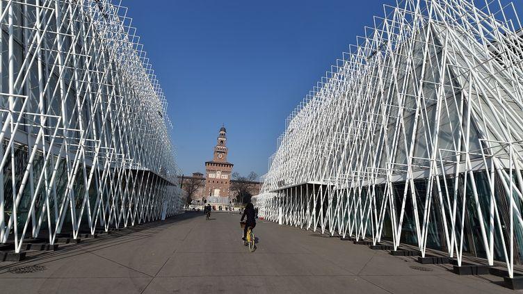 L'entrée de l'Exposition universelle 2015 de Milan (Italie) photographiée le 11 février 2015, avant l'inauguration le 1er mai. (GIUSEPPE CACACE / AFP)