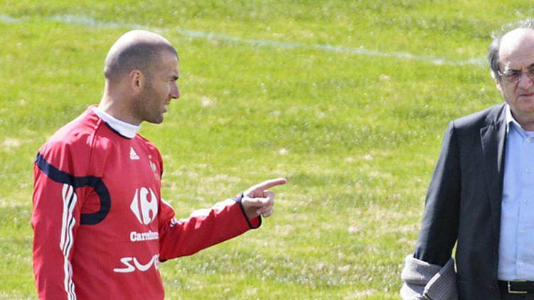 Zinédine Zidane et Noël Le Graët, lors de la Coupe du monde 2006
