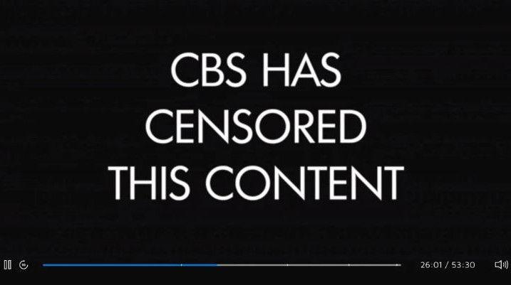 """Voici l'écran """"CBS a censuré ce contenu"""" que les téléspectateurs de la série """"The Good Fight"""" ont vu apparaître sur leur écran durant la séquence qui risquait de froisser la Chine en mai 2019. (CBS All Access)"""