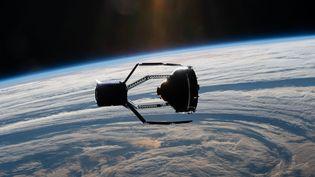 Une illustration crée par l'ESA et montrant ce à quoi ressemblera la mission de ramassage de débris spatiaux ClearSpace-1. (CLEARSPACE SA / AFP)