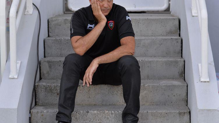 Entre colère et dépit, Mourad Boudjellal a réglé ses comptes avec ses joueurs en conférence de presse. (NICOLAS TUCAT / AFP)