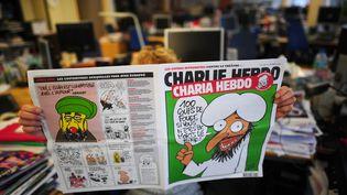 """La une de """"Charlie Hebdo"""", rebaptisé """"Charia Hebdo"""", le 1er novembre 2011. (MARTIN BUREAU / AFP)"""