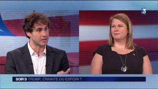 Henri Landes, sympathisant démocrate, et Antoinette Lorrain, vice-présidente des Républicains de l'étranger. (FRANCE 3)
