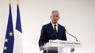 Le ministre de l'Economie, Bruno Le Maire, lors de la conférence de presse sur le Covid-19, le 29 octobre 2020. (IAN LANGSDON / POOL / AFP)