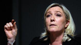 La présidente du FN Marine Le Pen lors d'un meeting le 12 mars 2014 à Strasbourg (Bas-Rhin). (PATRICK HERTZOG / AFP)