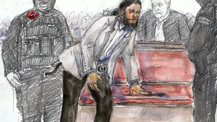 Un dessin représentantSalah Abdeslam au palais de justice lors de son procès à Bruxelles, le 5 février 2018. (BENOIT PEYRUCQ / AFP)