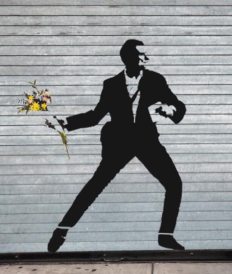"""Détournement façon Banksy d'une photo du photoreporter Laurent Troudé, pour """"Libération"""",prise samedi 19 juillet 2014, à Paris. (REDDIT / FRANCETV INFO)"""