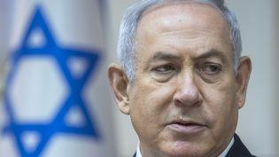 Benyamin Nétanyahou, Premier ministre israélien, lors d'un Conseil des ministres à Jérusalem, le 6 mai 2018. (JIM HOLLANDER / POOL / AFP)