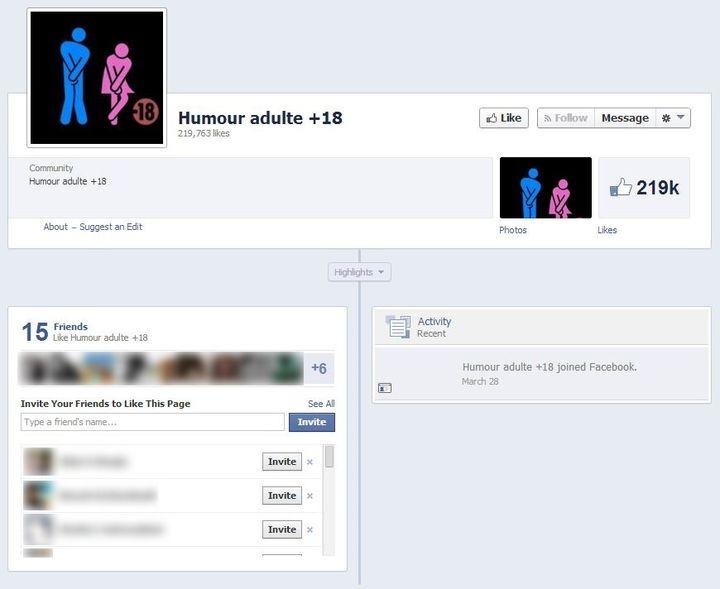 """La page Facebook """"Humour adulte +18"""", que le site zzub.fr fait """"aimer"""" aux internautes à leur insu. (VINCENT MATALON / FRANCETV INFO)"""