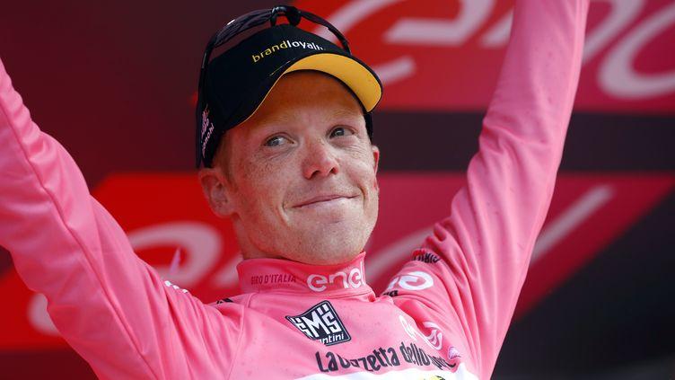 Steven  Kruijswijk, maillot rose surprise du Giro.  (LUK BENIES / AFP)