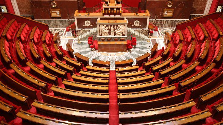 L'hémicycle de l'Assemblée nationale, le 24 mars 2017. (PHOTO12 / GILLES TARGAT / AFP)