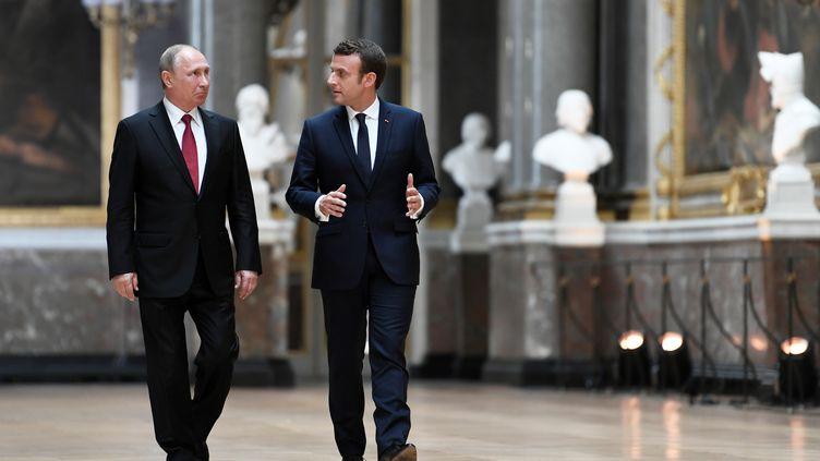 Vladimir Poutine et Emmanuel Macron, le 29 mai 2017 au château de Versailles (Yvelines). (STEPHANE DE SAKUTIN / AFP)
