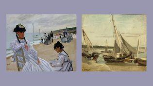 """A gauche, Claude Monet, """"Sur la plage à Trouville"""", 1870, musée Marmottan Monet, legs Michel Monet, 1966 - A droite, Camille Corot, """"Trouville, bateaux de pêche échoués dans le chenal"""", entre 1848 et 1875    (A gauche © Paris, musée Marmottan Monet /Bridgeman)"""