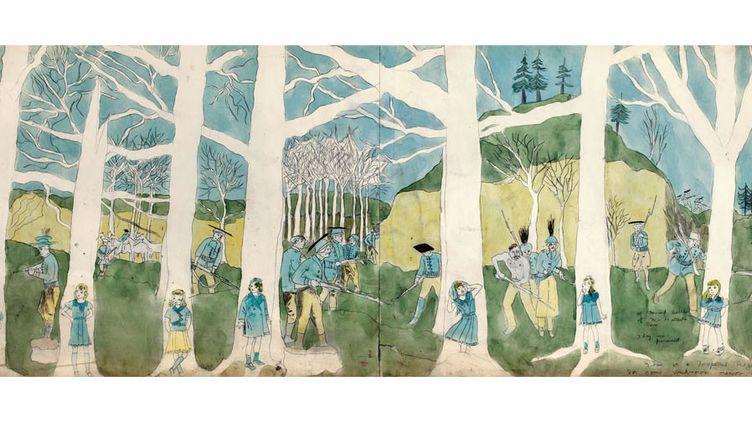 """Henry Darger, """"à la seconde bataille de McHollester Run, elles sont persuivies (sic). C'est une zone tropicale. Pour une raison inconnue les arbres sont morts""""  (Eric Emo / Musée d'Art Moderne / Roger-Viollet © 2015 Kiyoko Lerner / ADAGP, Paris)"""