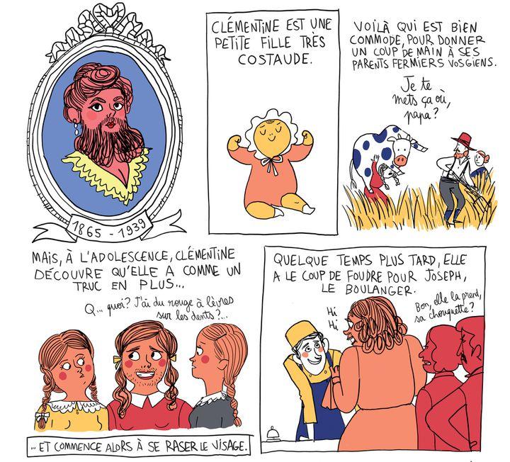 """""""Culottées"""", détail page 5, Clémentine Delais, femme à barbe  (Pénélope Bagieu)"""
