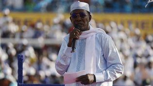 Le président du TchadIdriss Déby Itno, le 9 avril 2021 àN'Djamena. (MARCO LONGARI / AFP)