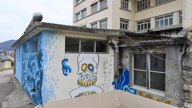 Une fresque sur l'une des maisons de la ''communauté auto-gérée'' de Sainte-Croix, en Suisse, où a été retrouvée Mia. (FABRICE COFFRINI / AFP)