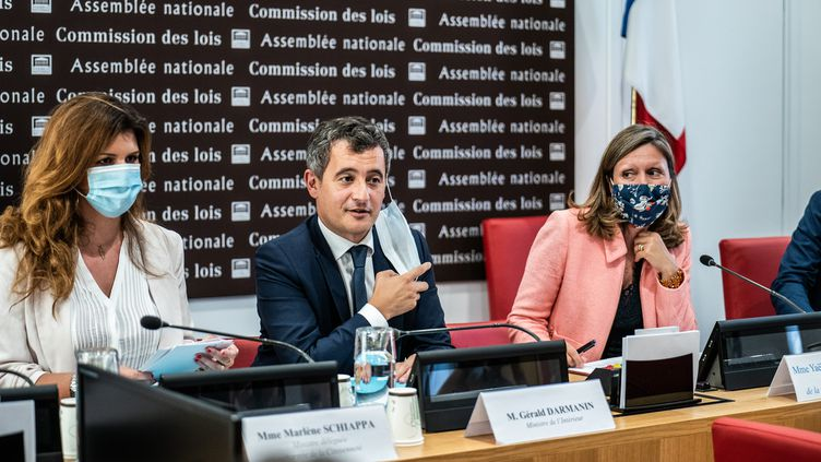 Gerald Darmanin devantla commission des lois de l'Assemblée nationale, le 28 juillet 2020, à Paris. (XOS? BOUZAS / HANS LUCAS)