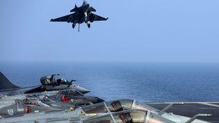 """Un avion Rafale français atterrissant sur le porte-avions """"Charles-de-Gaulle"""" dans le golfe d'Oman, le 31 janvier 2014. (PATRICK BAZ / AFP)"""