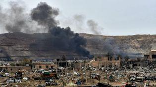Le village de Baghouz en Syrie après la défaite du groupe Etats islamique, le 24 mars 2019. (GIUSEPPE CACACE / AFP)