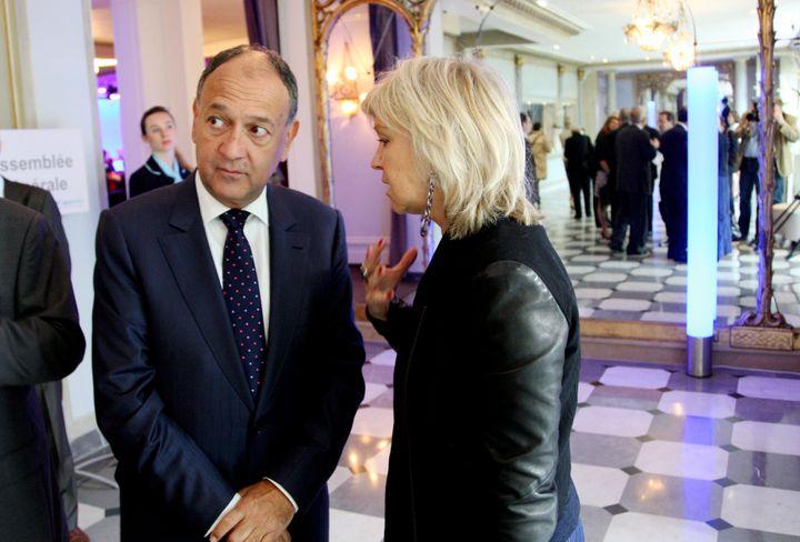 Paul Hermelin, PDG de Capgemini, et Anne Meaux, à l'Assemblée générale des actionnaires deCapgemini, le 24 mai 2012. (LUDOVIC / REA)