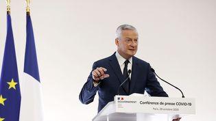 Bruno Le Maire, ministre de l'Economie lors de sa conférence de presse à Paris, le 29 octobre 2020. (IAN LANGSDON / POOL)