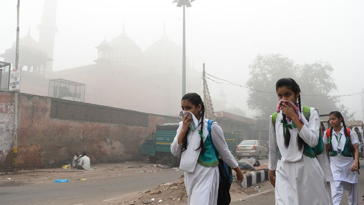 Des écolières indiennes couvrent leur visage pour se protéger de la pollution à New Delhi (Inde), le 8 novembre 2017. (SAJJAD HUSSAIN / AFP)