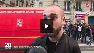 Capture d'écran montrant les pompiers dans le 18e arrondissement parisien, le 7 janvier 2016 (FRANCE 2)
