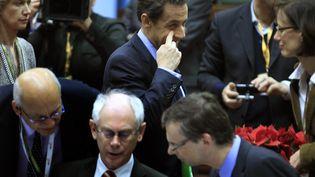 Nicolas Sarkozy arrive au sommet européen de Bruxelles (Belgique), le 9 décembre 2011. (YVES HERMAN / REUTERS)