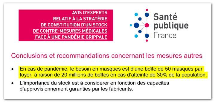 Extrait d'un avis d'experts publié par Santé publique France en Mai 2019, sur la stratégie à tenir face à une pandémie grippale. (DR)