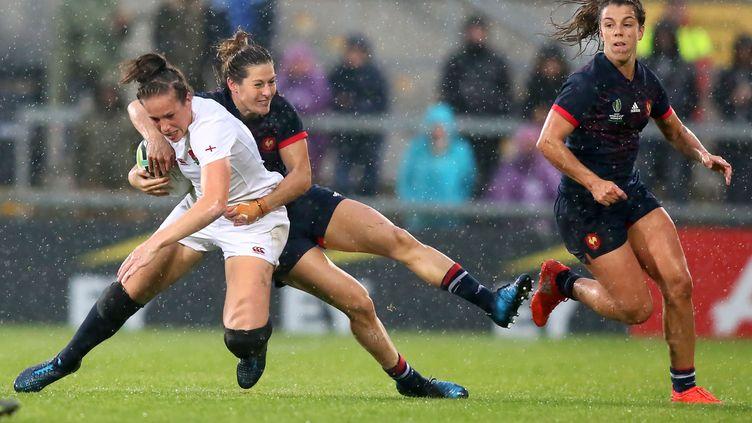 Demi-finale de la coupe du monde féminine de rugby, entre la France et l'Angleterre, à Belfast, le 22 août 2017. (PAUL FAITH / AFP)